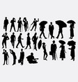 people with hat and umbrella vector image vector image