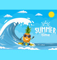pineapple characters surfing on wave vector image vector image