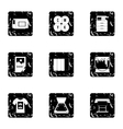 Printing services icons set grunge style vector image vector image