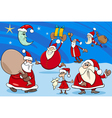 santa clauses group cartoon vector image vector image