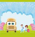 school bus and happy children vector image vector image