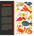 seafood menu fish and lobster crab and prawn or vector image vector image