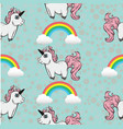 seamless pattern with unicorns and rainbows vector image vector image