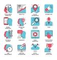 seo marketing flat line icons vector image