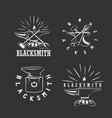 set vintage blacksmith labels design elements vector image vector image