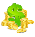 sign dollar and gold coins vector image