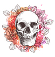 Skull And Flowers Sketch With Watercolor Effect vector image vector image