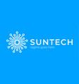 sun tech logo simple elegant circle technology vector image