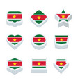 suriname flags icons and button set nine styles vector image vector image
