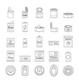 tin can food package jar icons set outline style vector image