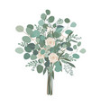 wedding bouquet with rose flowers seeded and vector image