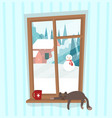 window with winter landscape outside with snowman vector image vector image