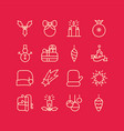 winter celebrating lined icons set vector image