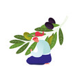 woman sitting on ground care olive branch with vector image