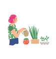 woman watering houseplants flat vector image