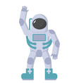 Astronaut in spacesuit waving hand on a whi vector image