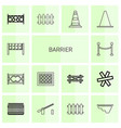 14 barrier icons vector image vector image