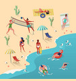 beach with people swimming and playing volleyball vector image vector image