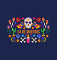black dia de muertos holiday celebration banner vector image