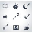 black sleep icon set vector image vector image