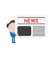 businessman character holding newspaper vector image