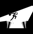 businessman jumps over the ravine vector image