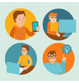 characters working at computers vector image vector image