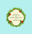christmas coniferous wreath template vector image vector image
