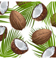 coconut with leaf natural fruit ornament of vector image