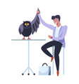 doctor veterinarian male with owl curing broken vector image vector image