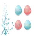 easter eggs with floral elements vector image vector image