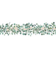 elegant seamless border from roses and eucalyptus vector image vector image