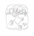 family sleeps in bed cartoon mom dad and vector image