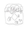 family sleeps in bed cartoon mom dad vector image