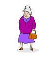 Funny old woman with bag Grandmother walking vector image vector image