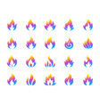 gas fire simple gradient icons set vector image