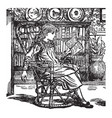Girl reading bookcase vintage engraving vector image