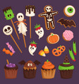 halloween cookie cake symbols of food for creepy vector image vector image
