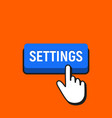 hand mouse cursor clicks the settings button vector image