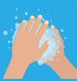 hand washing under clean water foam health care vector image