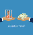 hands giving or offering pack money to another vector image vector image