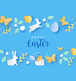 happy easter colorful paper cut rabbit egg card vector image vector image
