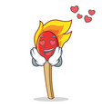 in love match stick mascot cartoon vector image