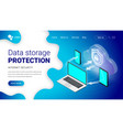 isometric data storage protection landing vector image vector image