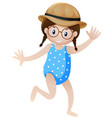 little girl in blue swimming-suit vector image