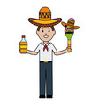 mexican man with tequila and maraca character vector image vector image