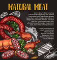 natural meat and sausage chalkboard poster design vector image vector image