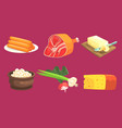 natural milk and meat products set sausage ham vector image
