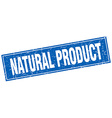natural product blue square grunge stamp on white vector image vector image