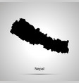nepal country map simple black silhouette on gray vector image